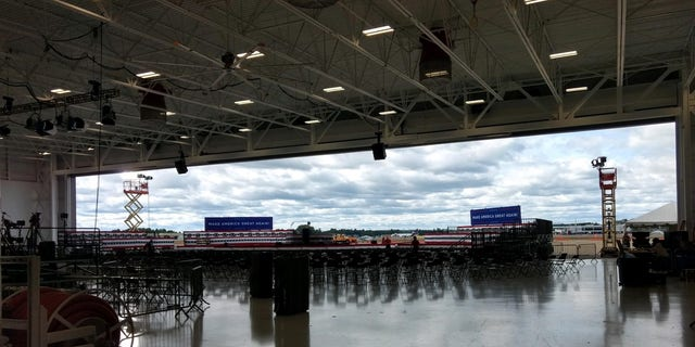 The hangar adjacent to Manchester Boston Regional Airport in New Hampshire where President Trump will hold his rally on Friday evening Aug. 28