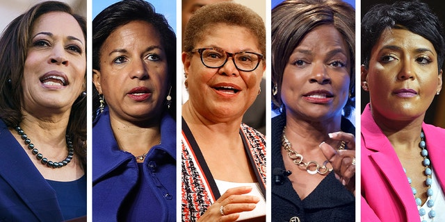 Biden's list of vice president contenders includes (from left) Sen. Kamala Harris, former National Security Adviser Susan Rice, Rep. Karen Bass, Rep. Val Demings, Mayor Keisha Lance Bottoms