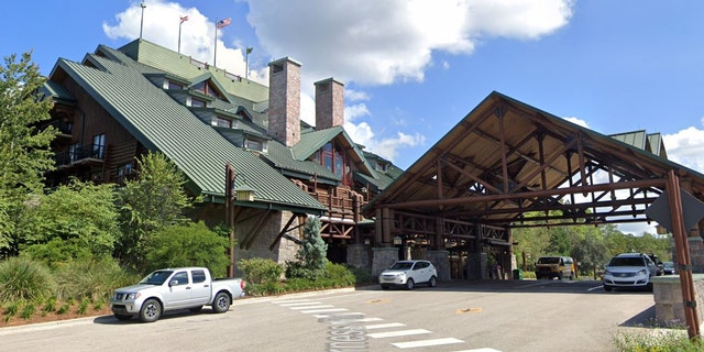 A Walt Disney World visitor recently took a wrong turn and wound up driving down the stairs of the Wilderness Lodge, pictured.
