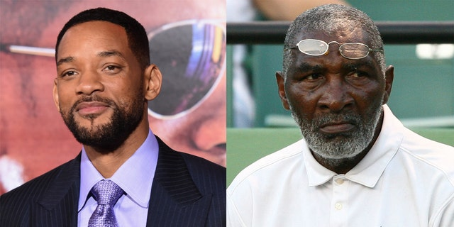 Will Smith (left) portrays tennis coach Richard Williams (right) in the film 'King Richard,' due for release in 2021.