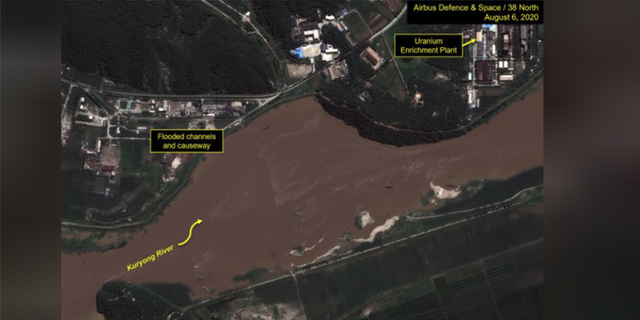 A view of the Yongbyon Nuclear Scientific Research Center shows flooding along the bank of the Kuryong River in Yongbyon, North Korea, August 6, 2020. Picture taken August 6, 2020.
