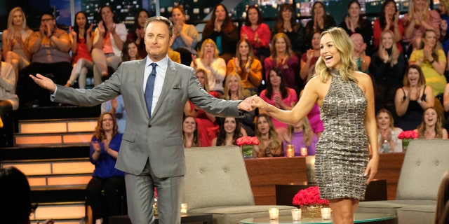 The new bachelorette Clare Crawley with host Chris Harrison.