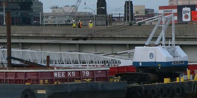 The Vine Street Expressway in Philadelphia was closed in both Wednesday morning due to unsecured barge that was knocked free due to flooding from Tropical Storm Isaias.