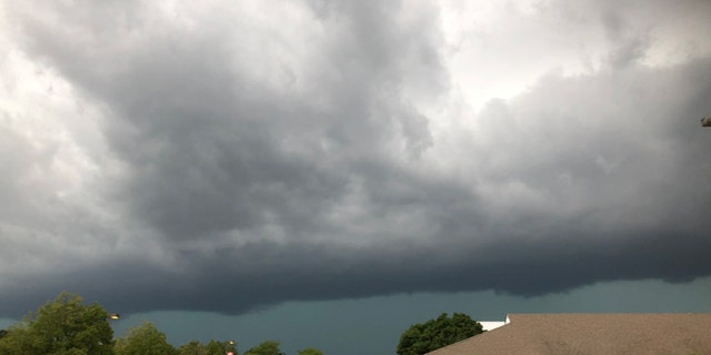 The derecho can be seen approaching Woodridge, Ill., on Aug. 10, 2020.
