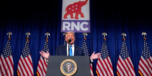 President Trump speaks on stage as he visits the Republican National Committee convention site, Monday, Aug. 24, 2020, in Charlotte. (AP Photo/Evan Vucci)