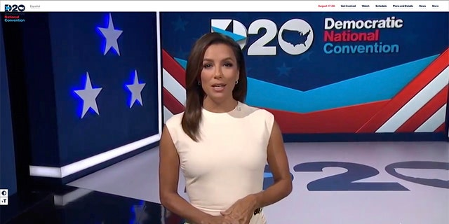 Actress and activist Eva Longoria addresses the virtual Democratic National Convention Monday night. (Photo by DNCC via Getty Images)
