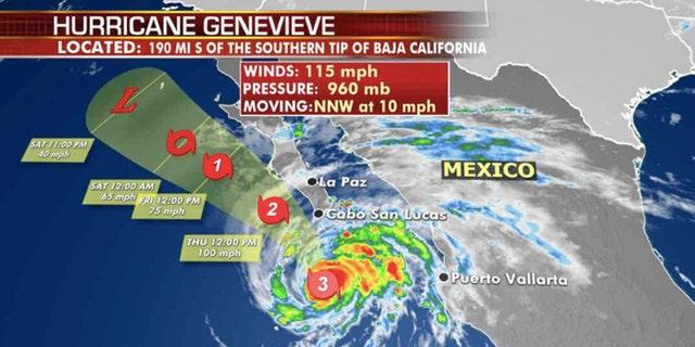 The forecast track of Hurricane Genevieve.