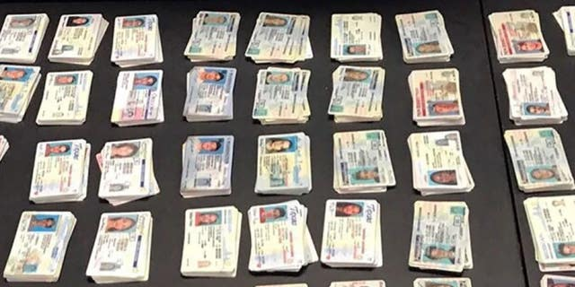 Fake U.S. licenses seized by CBP agents that were headed to New York from China last fall.