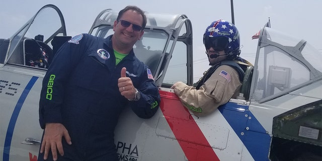 "Mark ""Gooch"" Gannucci, a former Navy aviator, led the squadron of planes as Fox News took a ride."