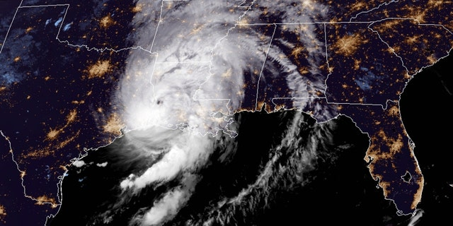 Hurricane Laura can be seen after making landfall along the Louisiana coast on Aug. 27, 2020.