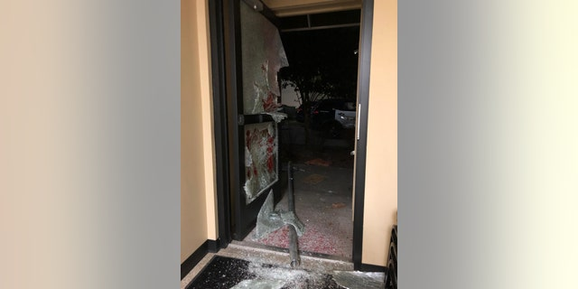 The photo shows Portland Police Association property allegedly damaged during Tuesday night's events (Portland Police Bureau)