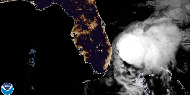 Tropical Storm Isaias is seen off the coast of Florida on Sunday, August 2, 2020.