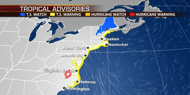 Tropical storm warnings and watches stretch from North Carolina to Maine.