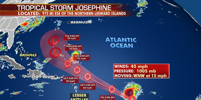 The forecast track of Tropical Storm Josephine.