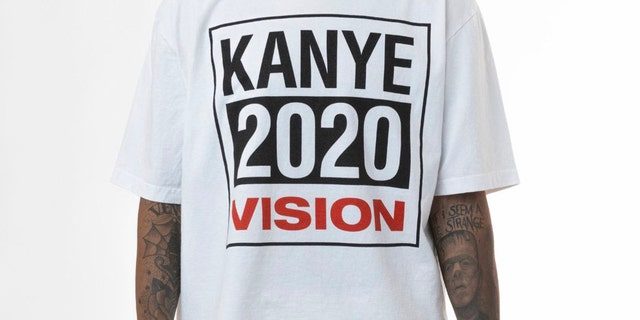 The rapper tweeted out three photos of branded apparel endorsing his presidential bid on Aug. 11.