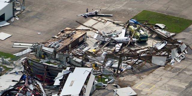 A airplane hangar at the Lake Charles Regional Airport was destroyed by Hurricane Laura. (AP)
