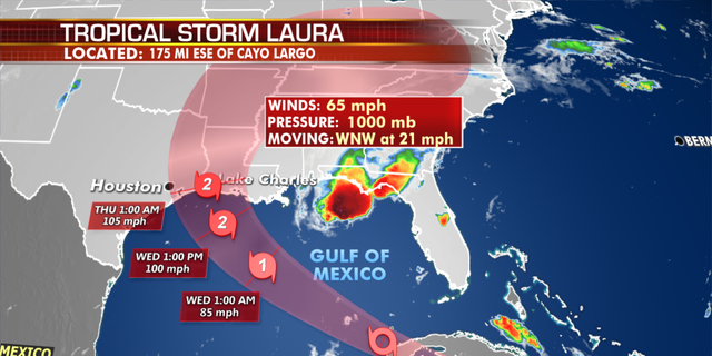 The current projected path of Tropical Storm Laura. (Fox News)