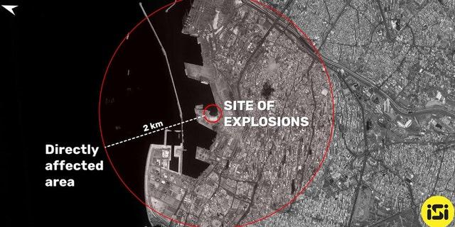 Satellite image of the aftermath of Beirut blast. (ISI Imagesat International)