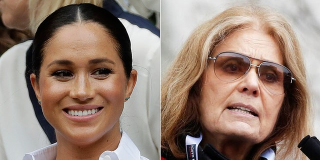 Meghan Markle, Duchess of Sussex (left), spent time cold-calling voters with social activist Gloria Steinem (right).