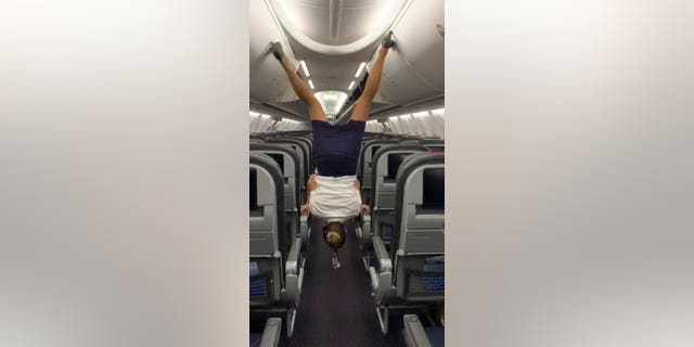 The woman, who has been a flight attendant for than six years said it was much harder than she makes it seem in the short clip.