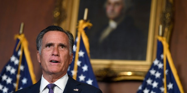 Sen. Mitt Romney, R-Utah, speaks during a news conference on on Capitol Hill in Washington, Monday, July 27, 2020, to highlight the Republican proposal for the next coronavirus stimulus bill. Romney was one of the first Republicans on Capitol Hill to back direct payments to Americans. (AP Photo/Susan Walsh)