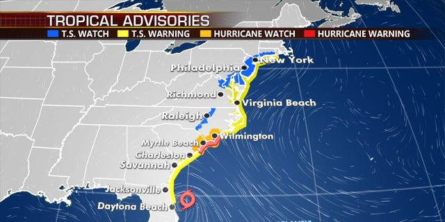 Hurricane warnings and tropical storm warnings and watches stretch from Florida to Maine.