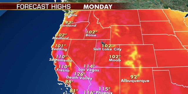 Forecast high temperatures for Monday, Aug. 17, 2020.