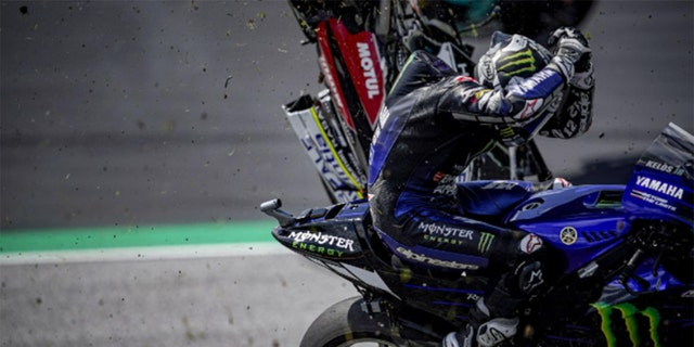Motogp Racer Maverick Vinales Leaps From Bike At 130 Mph After Brakes Fail Fox News