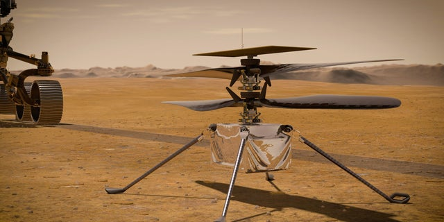 In this illustration, NASA's Ingenuity Mars Helicopter stands on the Red Planet's surface as NASA's Perseverance rover (partially visible on the left) rolls away. (Credit: NASA/JPL-Caltech)