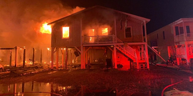 The fires destroyed three homes, damaged two and left a person seriously injured, officials say. (Horry County Fire Rescue)