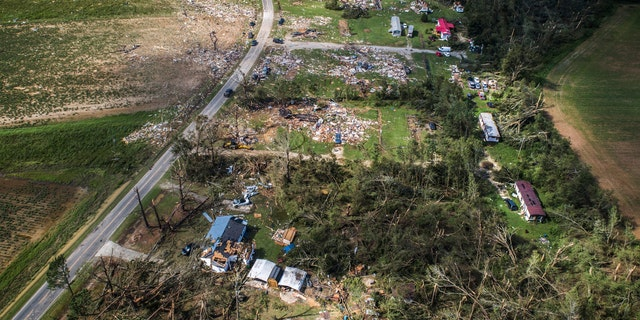 A view from a drone shows the destruction at a mobile home park near Windsor, N.C., that was hit by a tornado spawned by Isaias, Tuesday, Aug. 4, 2020. Two people were killed.