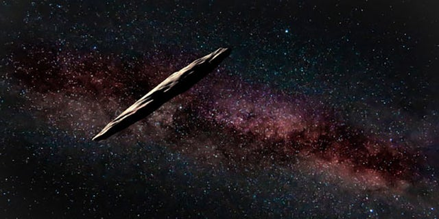 An artist's rendering of 'Oumuamua, a visitor from outside the solar system. Credito: The international Gemini Observatory/NOIRLab/NSF/AURA artwork by J. Pollard
