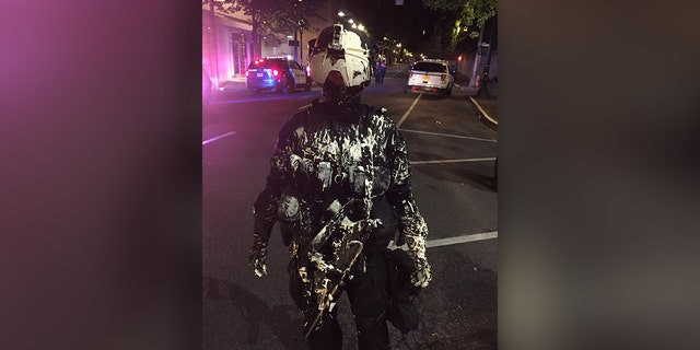 Portland-based policeman sprayed by paint (Portland Police Department)