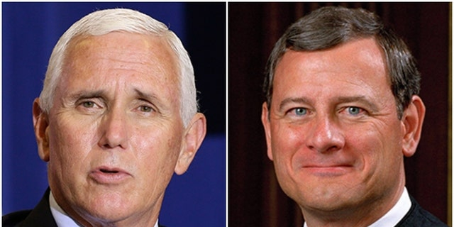 Vice President Mike Pence, left, had some sharp words regarding U.S. Supreme Court Chief Justice John Roberts during a TV interview on CBN News.