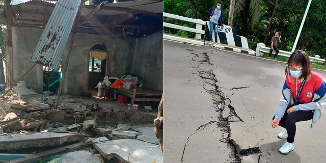 In these photos provided by the Philippine Red Cross, debris are scattered at a house and a volunteer looks at the cracks on a road after a quake struck in Cataingan, Masbate province, central Philippines.