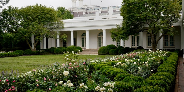A view of the restored Rose Garden is seen at the White House in Washington, Saturday, Aug. 22, 2020. First Lady Melania Trump will deliver her Republican National Convention speech Tuesday night from the garden, famous for its close proximity to the Oval Office.