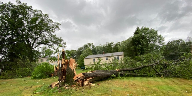 Damage in Morris County, N.J., after Tropical Storm Isaias blasted the East Coast on Tuesday.