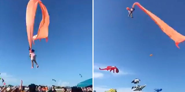 A 3-year-old girl was lifted into the air by a large kite during a kite festival in Hsinchu, northern Taiwan, on Sunday. The wind slowed down and the girl was safely recovered by adults on the ground. (Credit: Dainese Hsu)