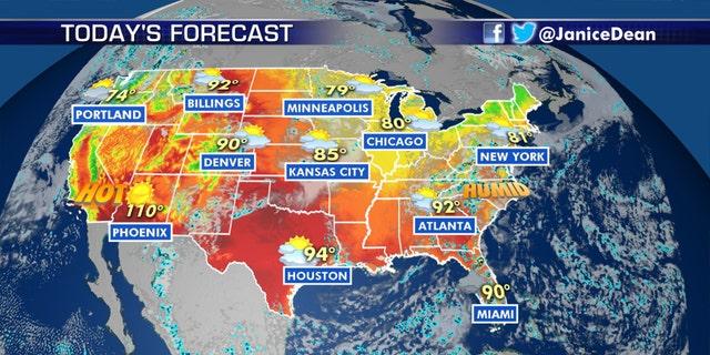 The national forecast for Thursday, Aug. 6, 2020.