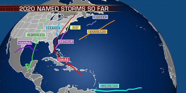 A look at the named tropical storms so far for the 2020 Atlantic hurricane season.