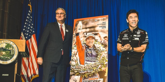 The 2018 Indy 500 ticket featured an image of Sato to celebrate his win the prior year.