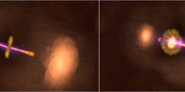 This illustration shows two views of the active galaxy TXS 0128+554, located around 500 million light-years away. Left: The galaxy's central jets appear as they would if we viewed them both at the same angle. Right: The galaxy appears in its actual orientation, with its jets tipped out of our line of sight by about 50 degrees. (Credit: NASA's Goddard Space Flight Center)