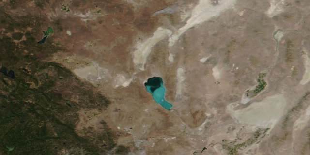 A toxic algae bloom can be see on Lake Pyramid in Nevada on Aug. 13, 2020.