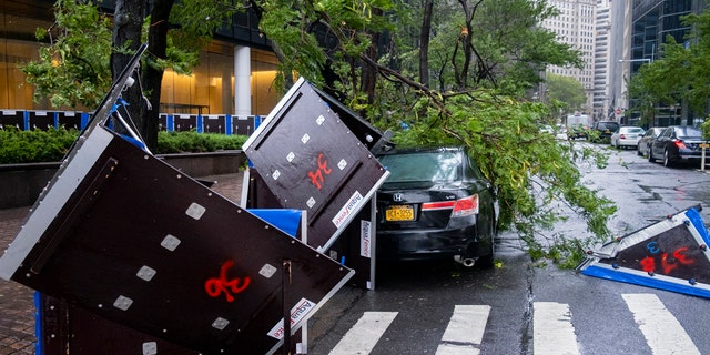 Damage is seen Tuesday, Aug. 4, 2020 in lower Manhattan as Tropical Storm Isaias moved past New York, producing strong winds that at times caused damage.