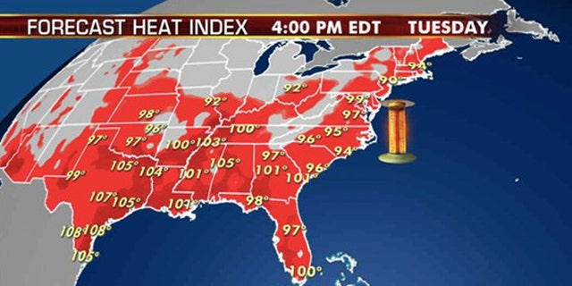 The forecast heat index for Tuesday, Aug. 11, 2020.