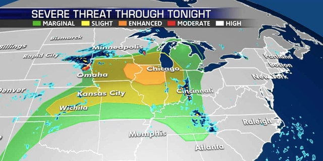 The greatest risk of severe weather on Monday is across northern Illinois.