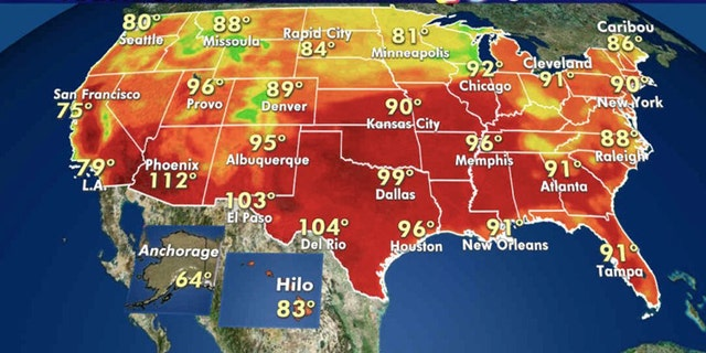 Forecast high temperatures for Aug. 10, 2020.