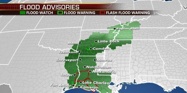 La amenaza de inundación del jueves por el huracán Laura.