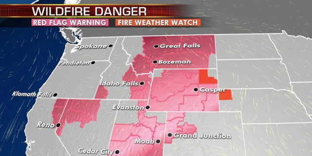 The wildfire danger for across the West for Wednesday, Aug. 12, 2020.