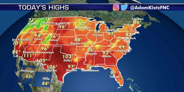 Forecast high temperatures on Aug. 12, 2020.